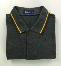 Men's Dark Grey Fred Perry Polo Shirt Medium M Long Sleeved Twin Tipped B