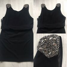 WALLIS Petite Black Party Dress UK 18 Embellished shoulders evening A7