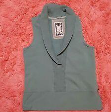 Old Navy XL Vest Womens Green Mock Collar V Neck Sleeveless Sweater Loungewear