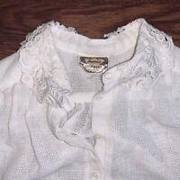 Vintage Jessicas Gunnies San Fransisco White Boho Blouse Burlap Lace 70s Gunne