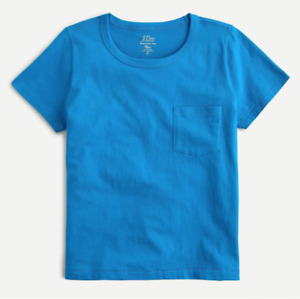 J Crew T Shirt Womens Authentic Fitted Pocket Tee Peacock Blue Small to 2XL