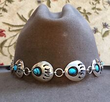 STERLING SILVER TURQUOISE BEAR PAW NAVAJO Handmade BRAID Hatband HAT BAND BLACK