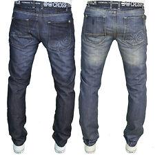 Crosshatch Mens Designer Branded Regular Fit Straight Leg Jeans, BNWT