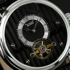 Tourbillon Automatic Mechanical Self-wind Watch Mens Black Leather Classic Dial