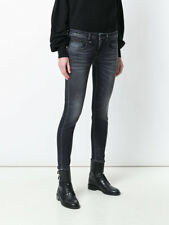 R13 BOY SKINNY JEANS 24 in VINTAGE BLACK wash $345 Made In Italy Distressed Gray