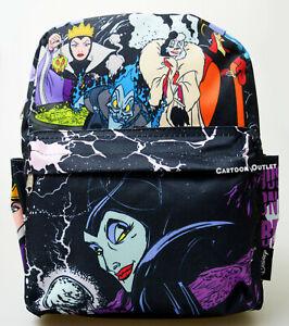 "Disney Villains All Over Print 12"" Backpack Purse Evil Queen Maleficent Cruella"