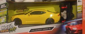 ✅Maisto Tech R/C Yellow w Black Stripe 2016 Chevrolet  Camaro SS 27 MHz  1:24 SS