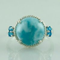 Larimar 8.35 Ct Authentic Ring With Neon Apatite Solid 925 Silver Exotic Jewelry
