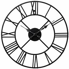 40Cm Stunning Metal Roman Numeral Clock - Black Iron