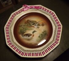 Bavarian German Mallard Duck Plate, reticulated edge and woven ribbon decor