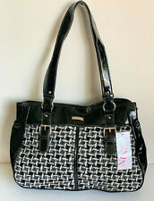 NEW! NINE & CO NINE WEST BLACK CROC CANDY SATCHEL SHOPPER BAG TOTE PURSE $55