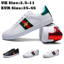 WOMEN FLAT WHITE DESIGNER BEE CASUAL MENS LACE UP SUMMER TRAINERS SHOES SIZE US