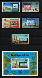 CHAD, SCOTT # 327 & C206-C210, COMPLETE USED SET OF STAMPS & MINI SHEET ZEPPELIN