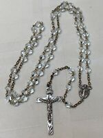 """Rosary Sterling Silver Crucifix Clear Glass Beads Catholic 59 Beads 19"""" Vintage"""