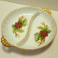Vintage Porcelain Hand Painted Dish Trinket May Wine By Barrington Gold Trim