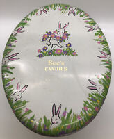 """Vtg Collectible SEE'S CANDY Famous Old Time Easter """"Egg"""" Shaped Bunny Tin empty"""