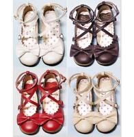Sweet Women's Girls Lolita Bowknot Mary Janes Strap Cosplay Casual Party Shoes