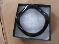 Vintage 1950's Italian Wave Design Black Lucite Bangle Bracelet