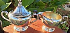 1881 Rogers Silverplate Pedestal or Footed Creamer and Sugar Bowl ~ USA