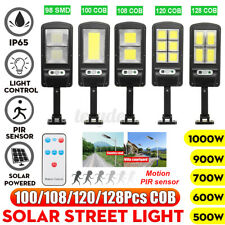 1000W Solar Street COB Light PIR Motion Sensor Induction Wall Road Walkway Light