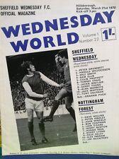 Sheffield Wednesday v Nottingham forest football programme 1970 march 21st