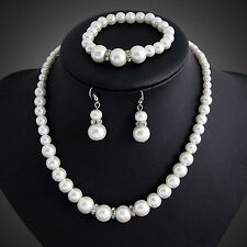 Gorgeous Pearl Crystal Necklace Earring and Bracelet  Wedding Bridal Set