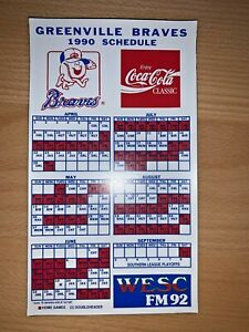 1990 GREENVILLE BRAVES MINOR LEAGUE BASEBALL SCHEDULE MAGNET COCA-COLA & WESC