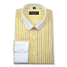 Peaky Blinders Yellow stripes Mens Penny collar shirts Round Club Grandad Gents