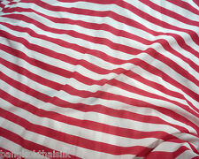 "RED & WHITE 3/4"" STRIPES SHEER CHIFFON FABRIC 60""W Dress Lining Decor Scarf"