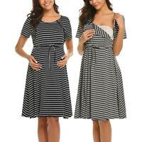 Women Maternity Dress Short Sleeve Nursing Nightdress Breastfeeding Dress