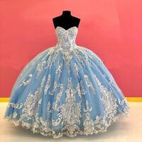Blue Sweet 16 Quinceanera Dresses Sequins Lace Applique Sweetheart Corset Back