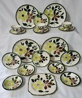 20 pc BLUE RIDGE SOUTHERN POTTERIES Dinnerware Set GREEN BRIAR  cup plate bowl
