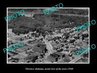 OLD POSTCARD SIZE PHOTO FLORENCE ALABAMA, AERIAL VIEW OF THE TOWN c1940