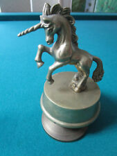 "Vintage Brass Unicorn Figure Music Box Figurine ""BORN FREE"" 6"""