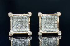 Mens Ladies 10K Rose Gold 4 Prong Square 3D Real Diamond Stud Earrings .35 Ct.