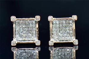 Mens Ladies 10K Rose Gold 4 Prong Square 3D Real Diamond Stud Earrings .35 Ct.