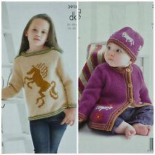 KNITTING PATTERN Girls/Baby Horse Jumper Jacket Hat & Blanket DK King Cole 3918