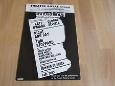 Kate O'MARA & George SEWELL in NIGHT & DAY 1980 Theatre Royal NOTTINGHAM Poster