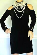 $3,395 BALMAIN Pearl Crystal Necklace Black Velvet Cocktail Dress US 6 8 / FR 40