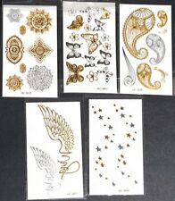 Tattoo Sticker Metallic Sliver Gold 5 pcs