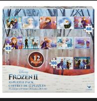 Disney's Frozen - 12 Puzzles with a total of 755 Pieces 5 x 48, 5 x 63, 2 x 100