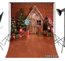 Xmas Wood House Candy 3X5FT Vinyl Photography Backdrop Background Studio Props