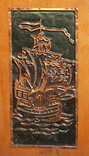 VINTAGE HAND MADE COPPER/WOOD WALL DECOR PLAQUE SHIP