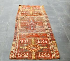Turkish Hand Knotted Vintage Runner Rug Anatolian Traditional Wool Carpet 3x8 ft