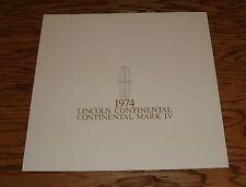 Original 1974 Lincoln Continental Mark IV Deluxe Sales Brochure 74