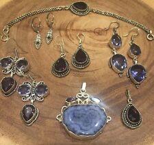 Lot x7 Sterling Silver 925 Agate Topaz Amethyst Lilac Earrings Bracelet Pendant