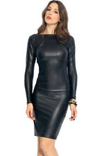 Hot Fashion Reversible Black Faux Leather Midi Dress Large