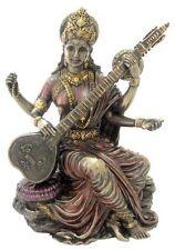 "5.5"" Hindu Goddess Saraswati Playing Vina Statue Sculpture Figurine Sarasvati"