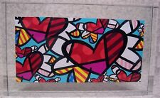 Romero Britto Glass Block Flying Hearts NEW with gift box