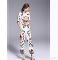 Women Stylish Retro Print Floral Short Sleeve T-Shirts Pencil Pants Suits 2pcs